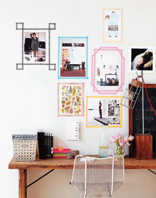 Un estilo diferente para tus marcos de fotos con washi for Como colgar un espejo sin marco en la pared