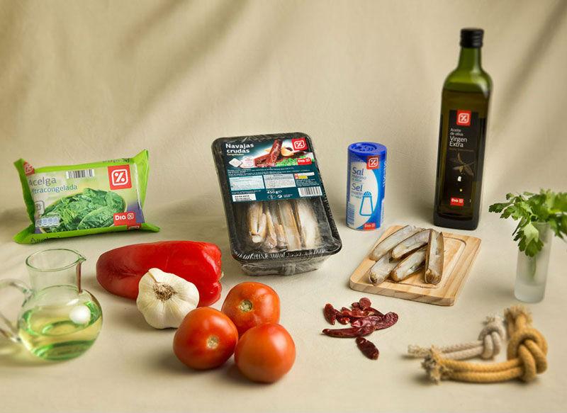 Ingredientes Verduras salteadas con navajas