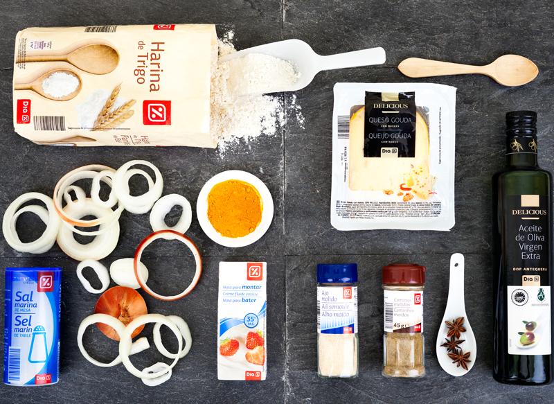 Ingredientes Bhajis de cebolla y crema de queso