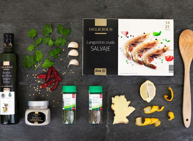 Ingredientes Langostinos picantes con hierbas aromticas