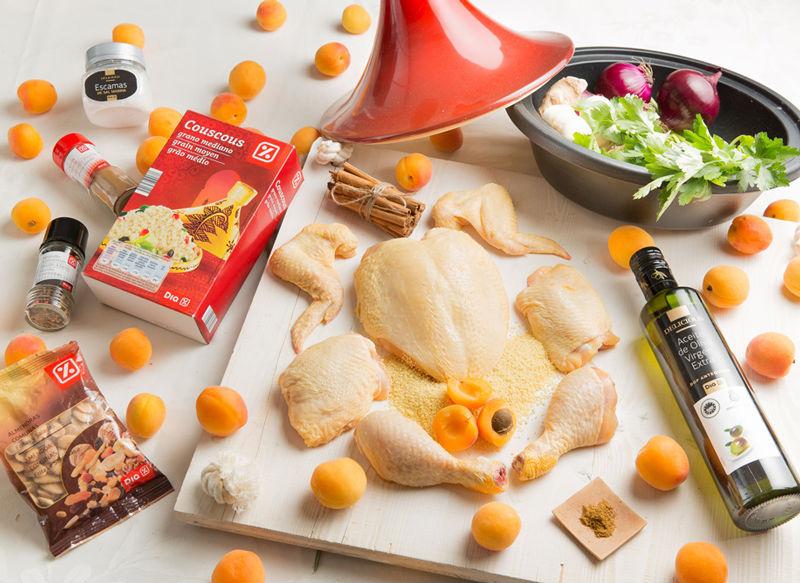 Ingredientes de Tajine de pollo con albaricoques