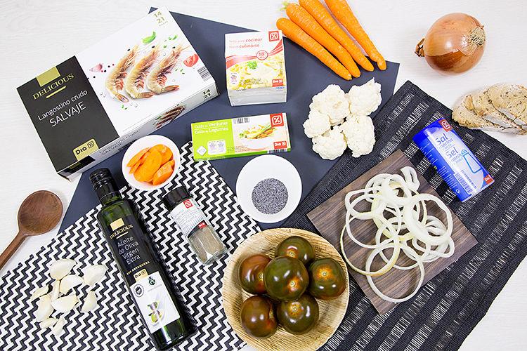 Ingredientes de Crema de brocoli con langostinos