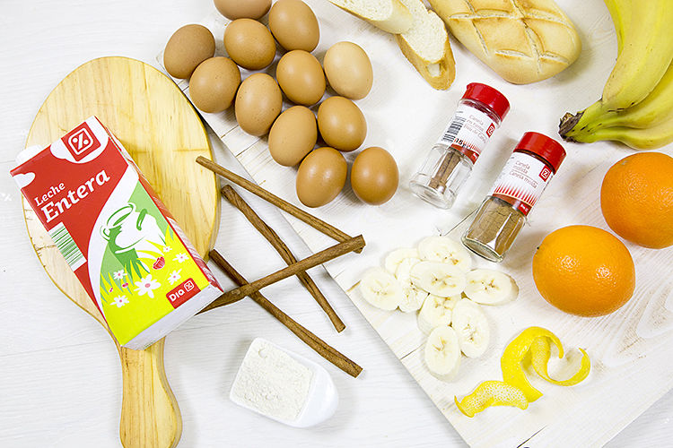 ingredientes de torrija con naranja y platano