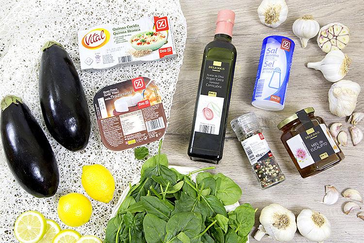 Ensalada de espinacas, berenjenas y queso fresco con quinoa ingredientes