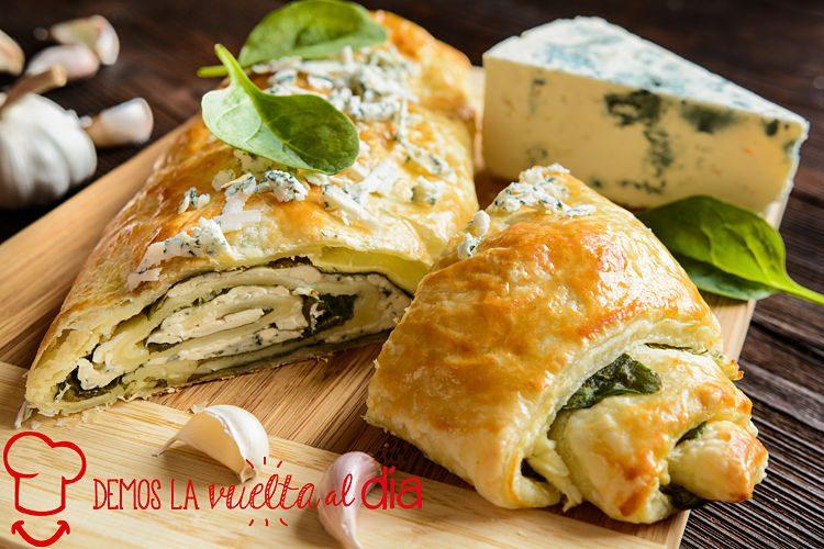 Strudel de espinacas y queso gorgonzola