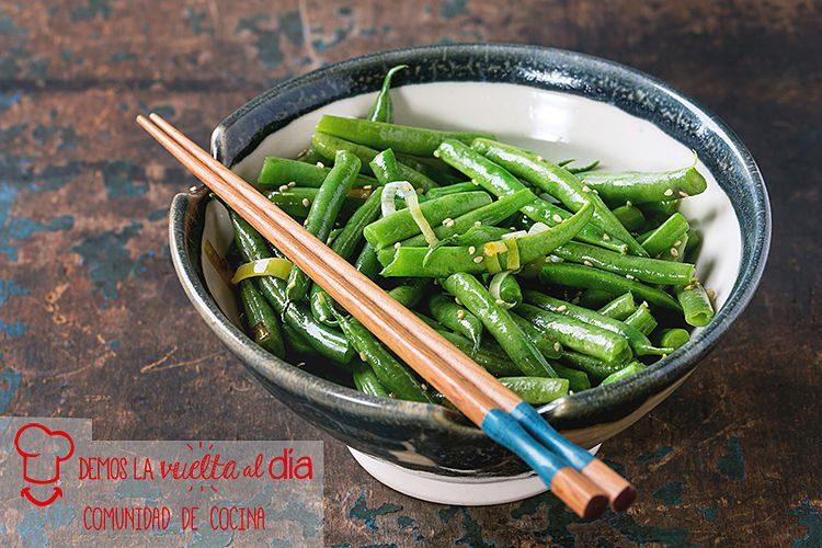 Judías verdes salteadas con soja y sésamo
